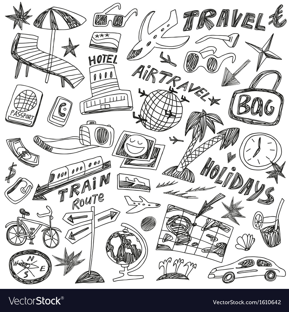 Travel doodles vector | Price: 1 Credit (USD $1)