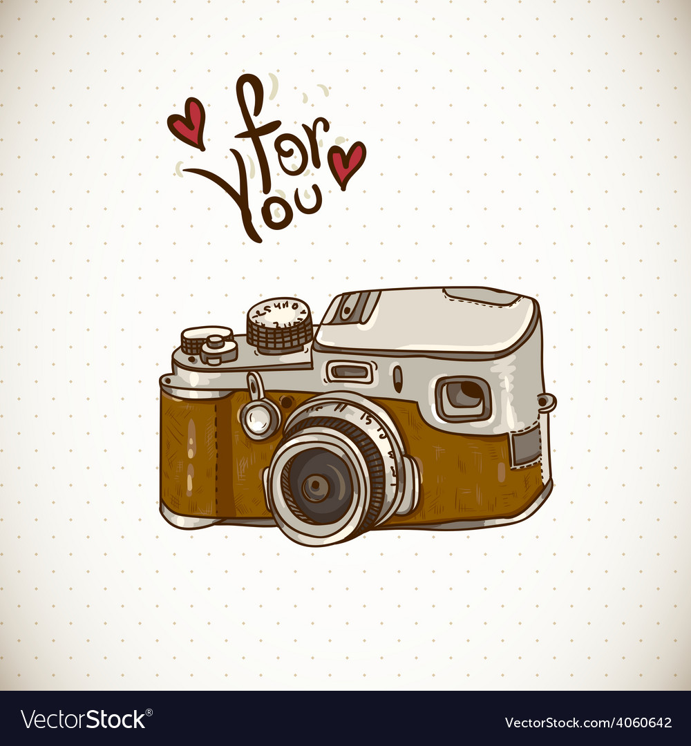 Vintage card with retro camera vector | Price: 1 Credit (USD $1)