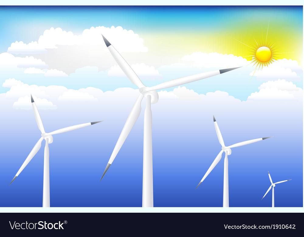 Wind turbine on blue sky vector | Price: 1 Credit (USD $1)