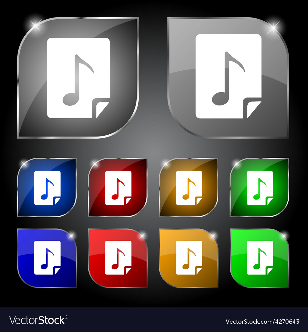 Audio mp3 file icon sign set of ten colorful vector | Price: 1 Credit (USD $1)