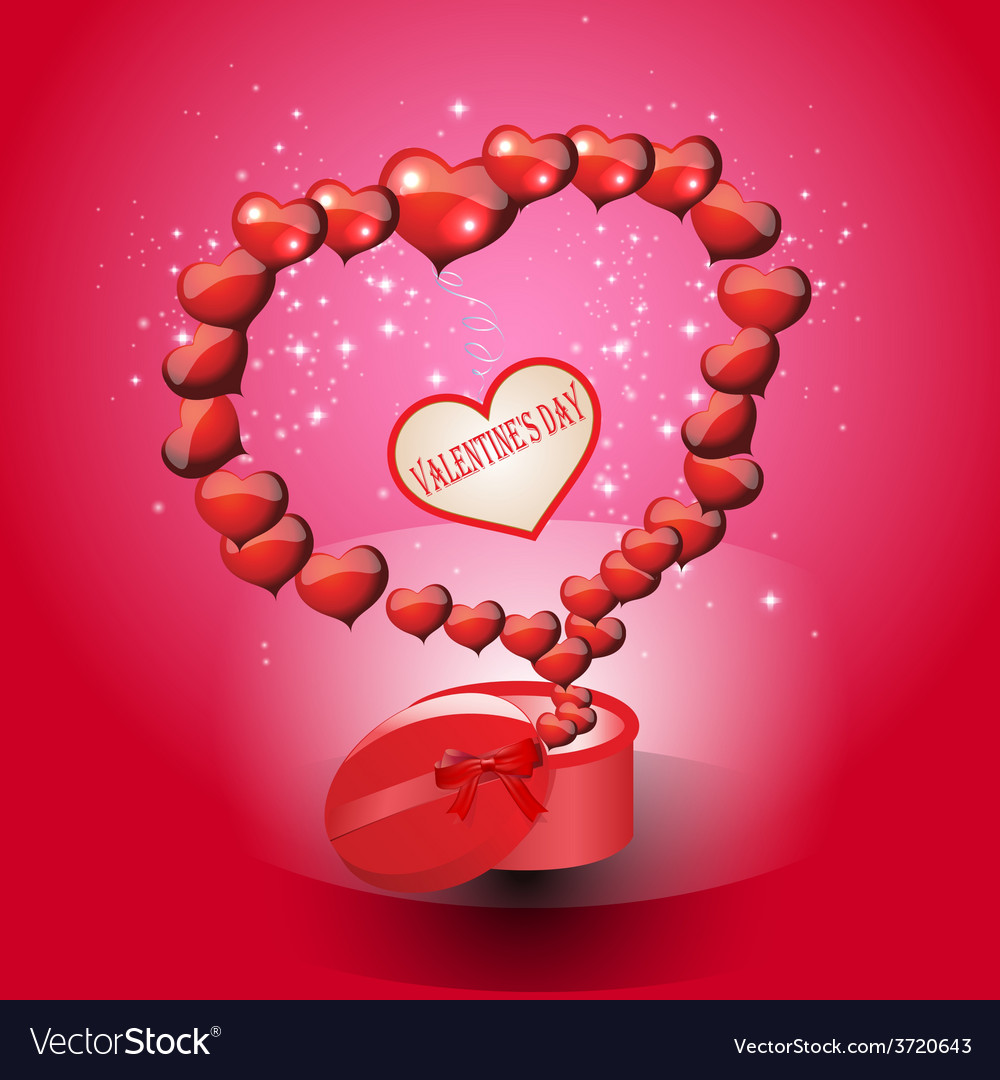 Card valentines day on a red background vector   Price: 1 Credit (USD $1)