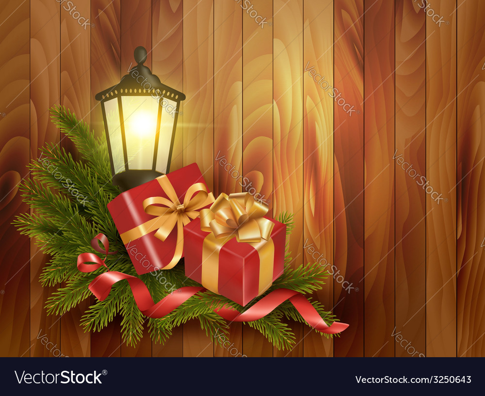 Christmas background with presents and a lantern vector | Price: 1 Credit (USD $1)