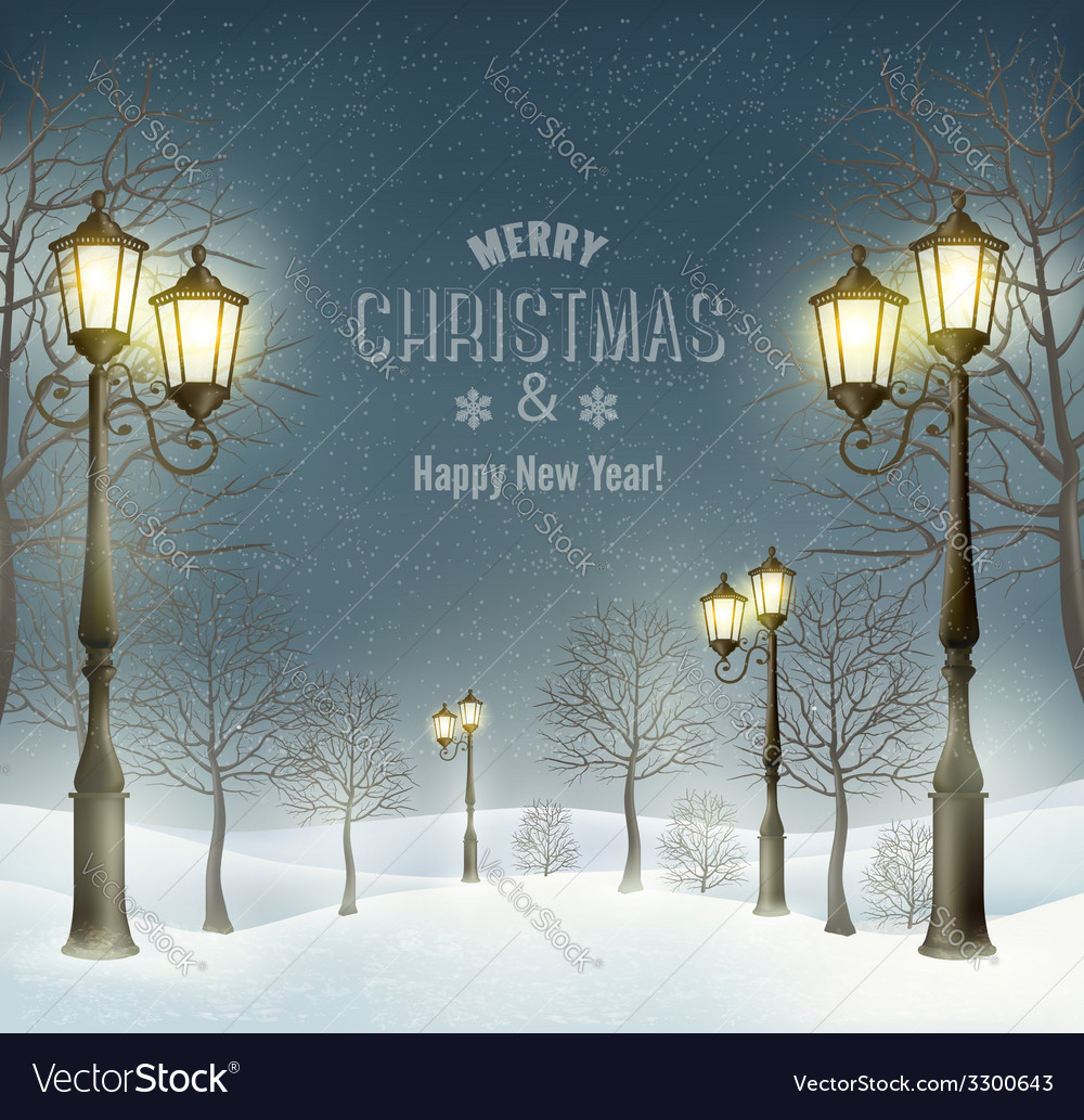 Christmas evening winter landscape with lampposts vector | Price: 5 Credit (USD $5)