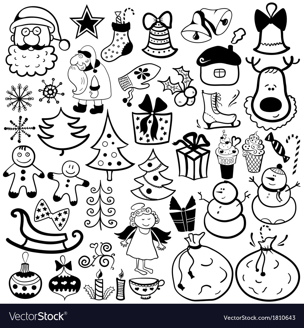 Christmas icon set black and white element vector | Price: 1 Credit (USD $1)