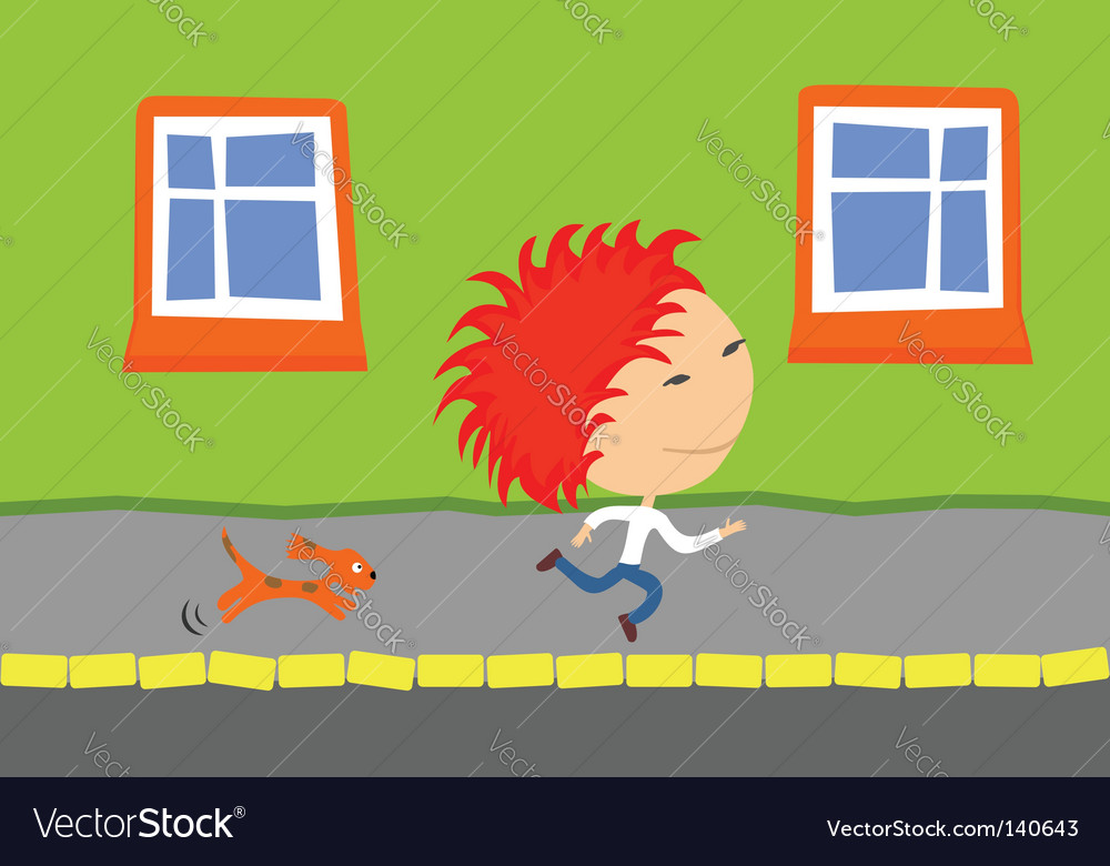 Dog chasing kid vector | Price: 1 Credit (USD $1)