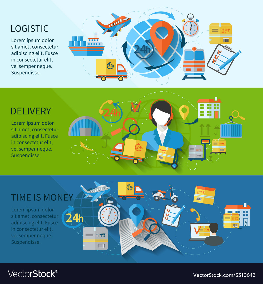 Logistic banner set vector | Price: 1 Credit (USD $1)
