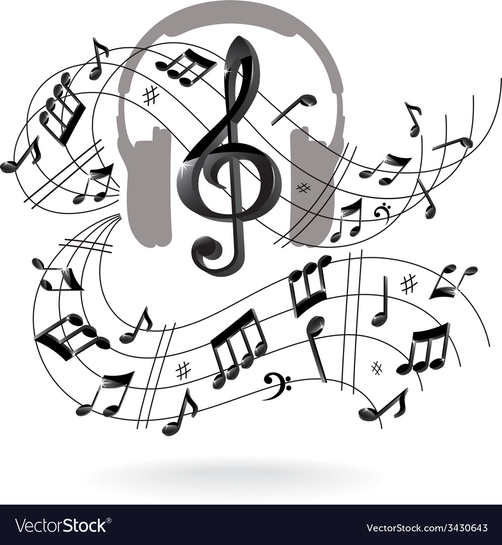 Musical background with headphones vector | Price: 1 Credit (USD $1)
