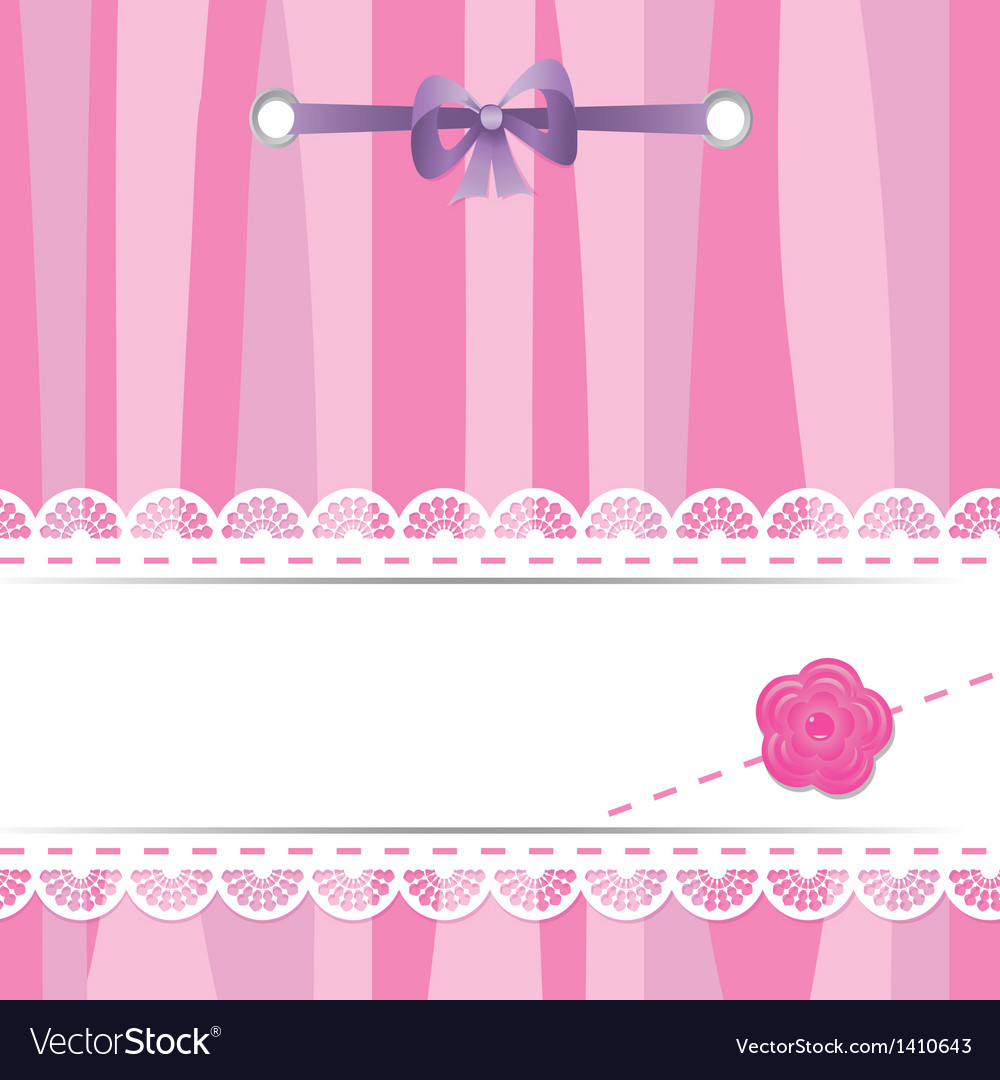 Pink card with laces flower and ribbon vector | Price: 1 Credit (USD $1)
