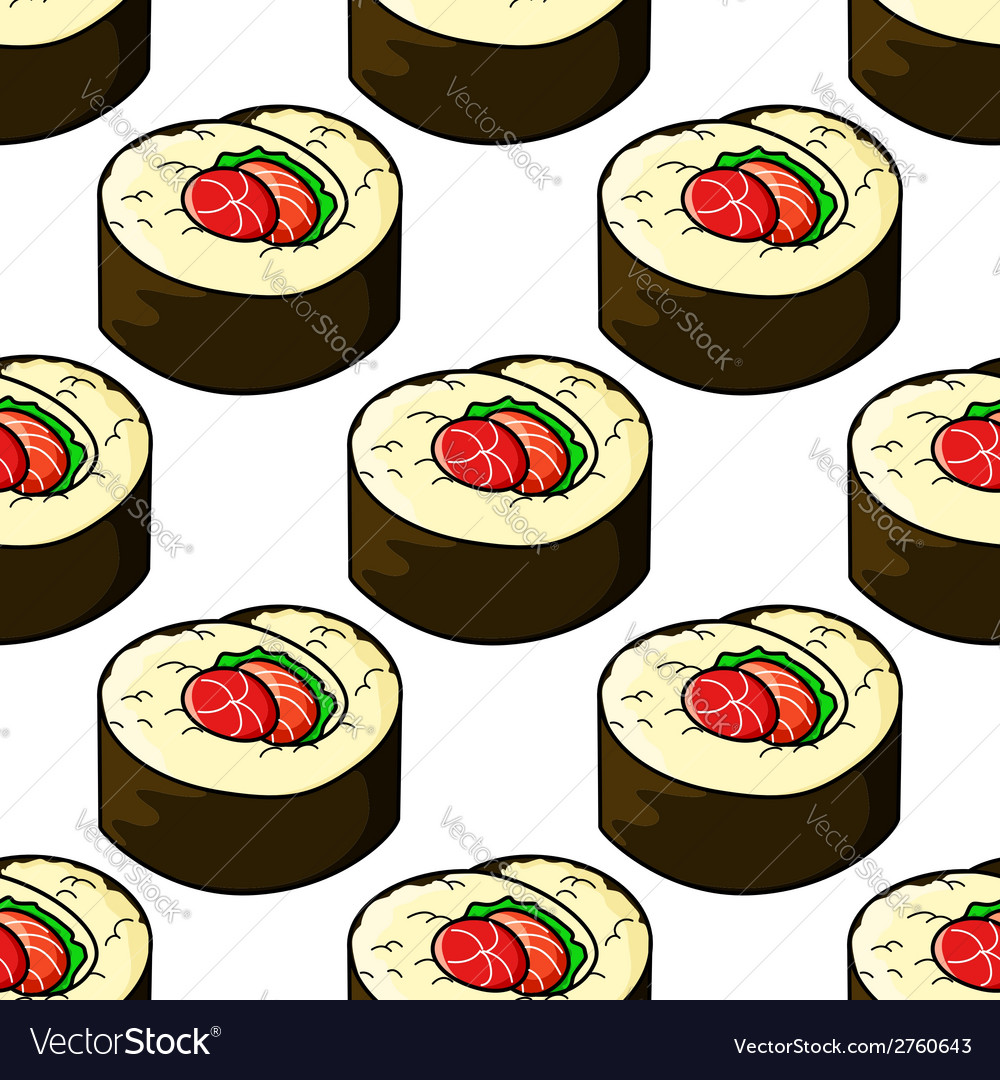 Seamless pattern of japanese sushi seafood emblem vector | Price: 1 Credit (USD $1)