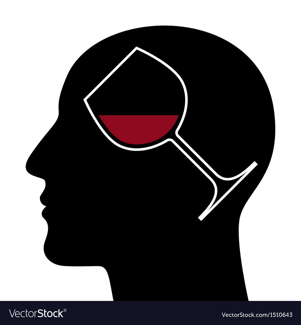 Silhouette of head with red wine glass vector | Price: 1 Credit (USD $1)