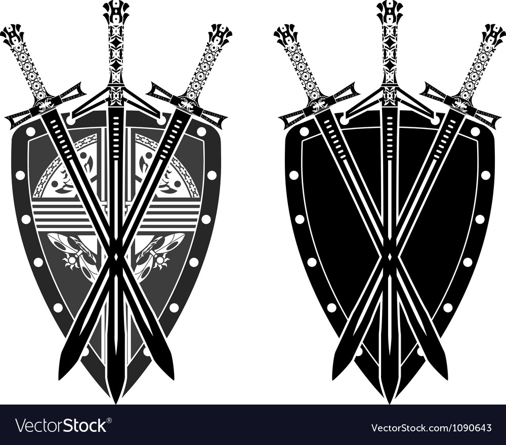 Three swords and shield stencil vector | Price: 1 Credit (USD $1)
