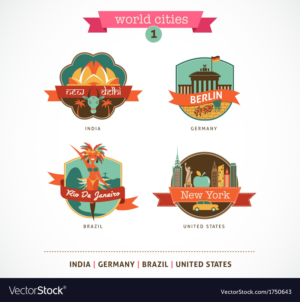 World cities labels - delhi berlin rio new york vector | Price: 1 Credit (USD $1)