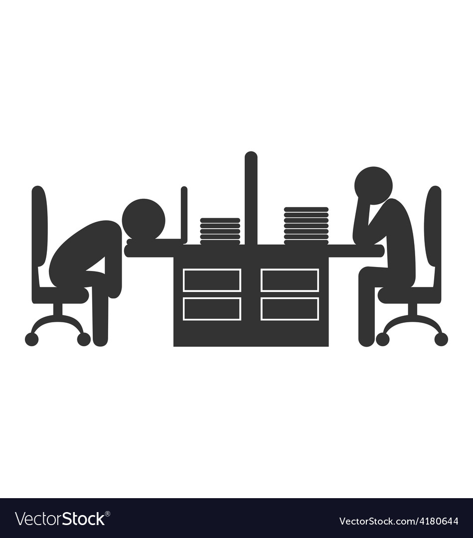Flat office icon with fizzle out workers isolated vector | Price: 1 Credit (USD $1)