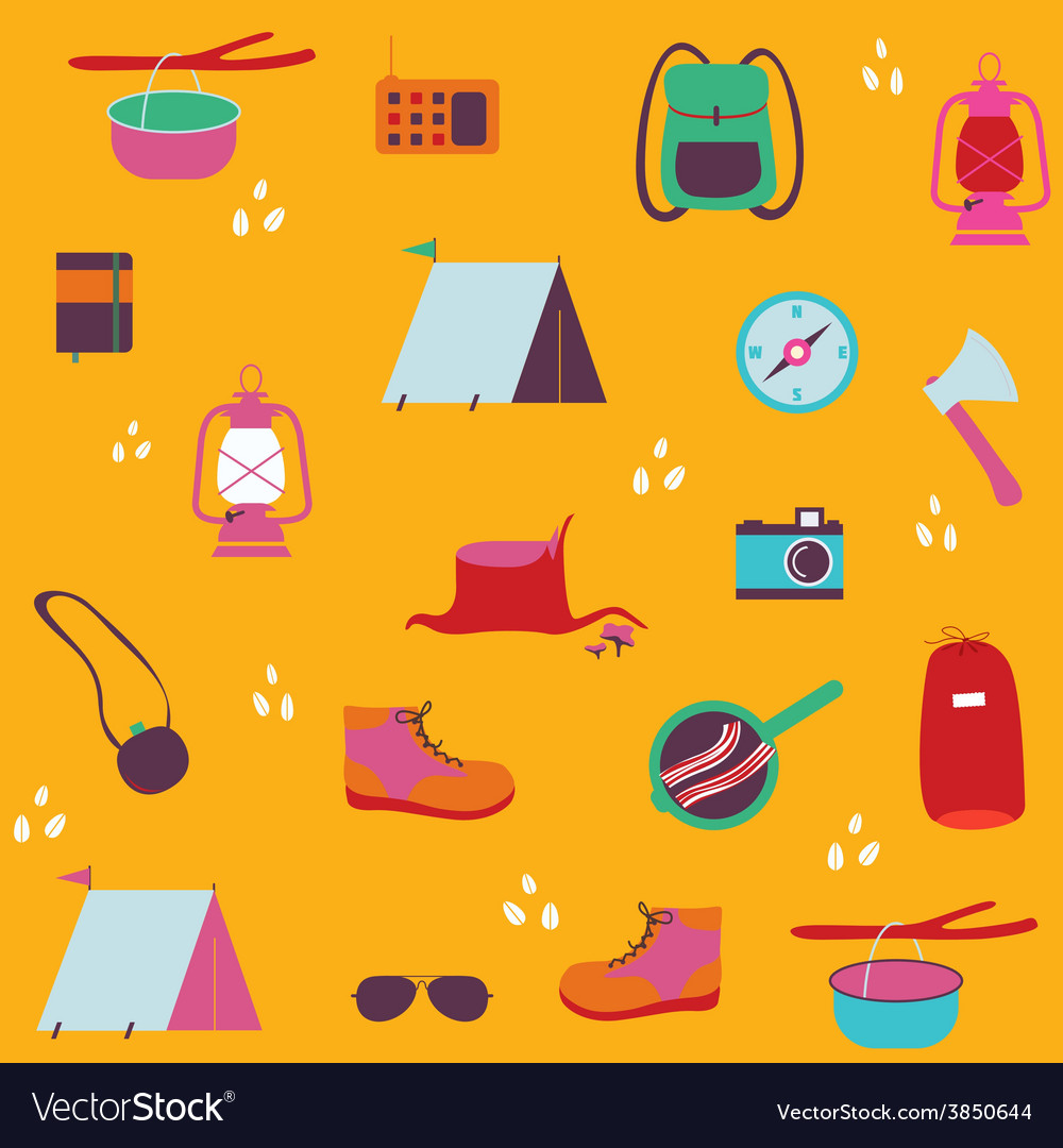Seamless print with traveler objects vector | Price: 1 Credit (USD $1)