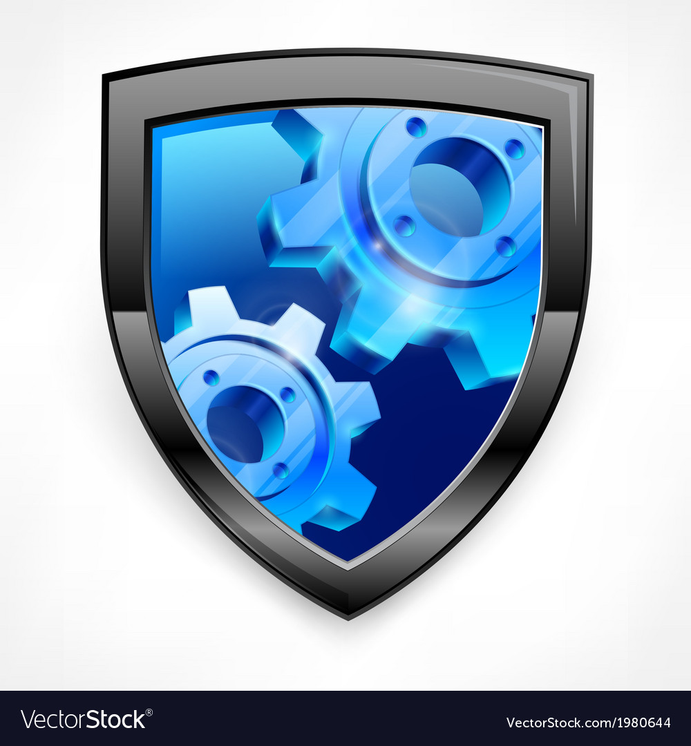 Shield with blue gear on white vector | Price: 1 Credit (USD $1)