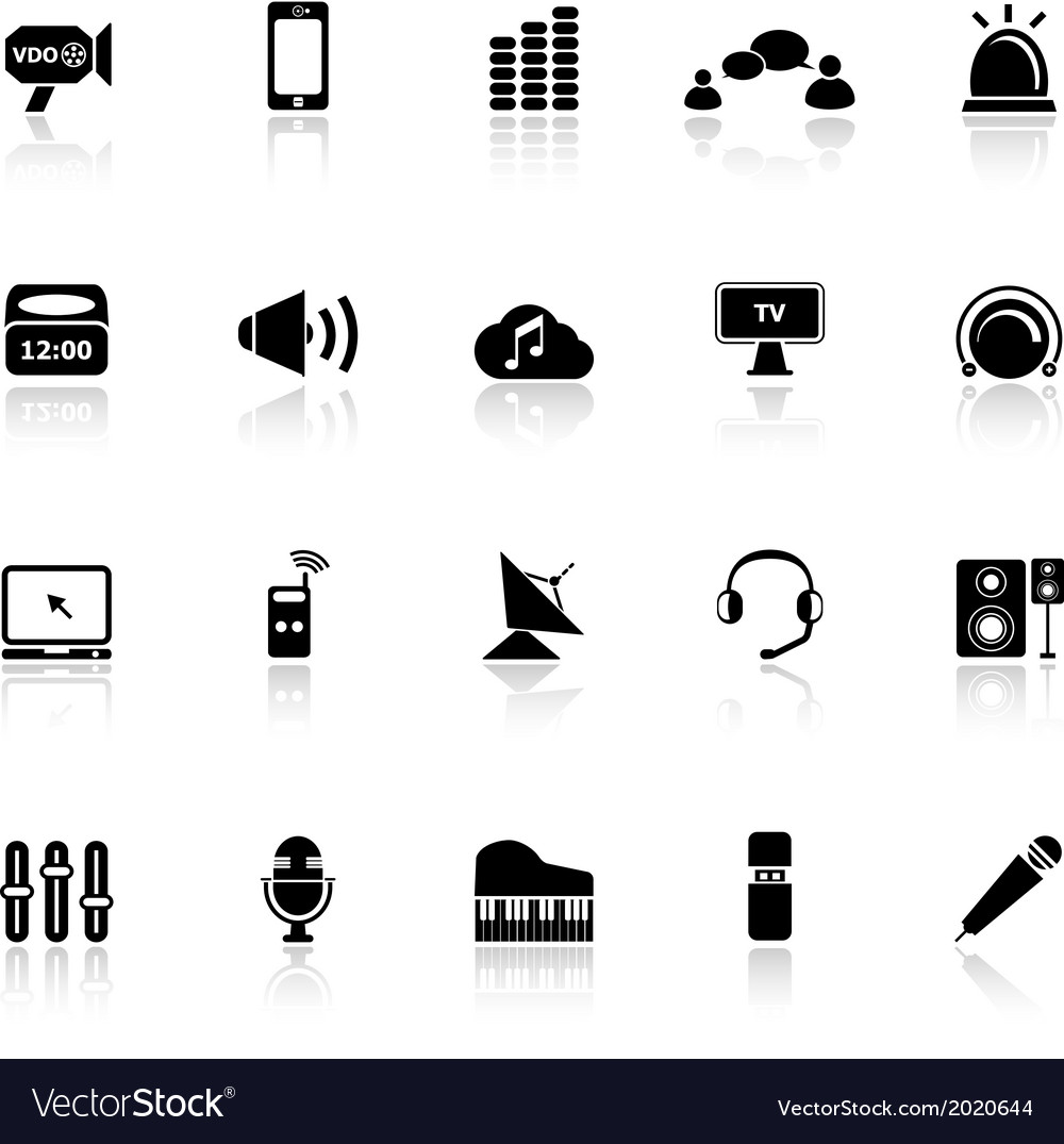 Sound icons with reflect on white background vector | Price: 1 Credit (USD $1)