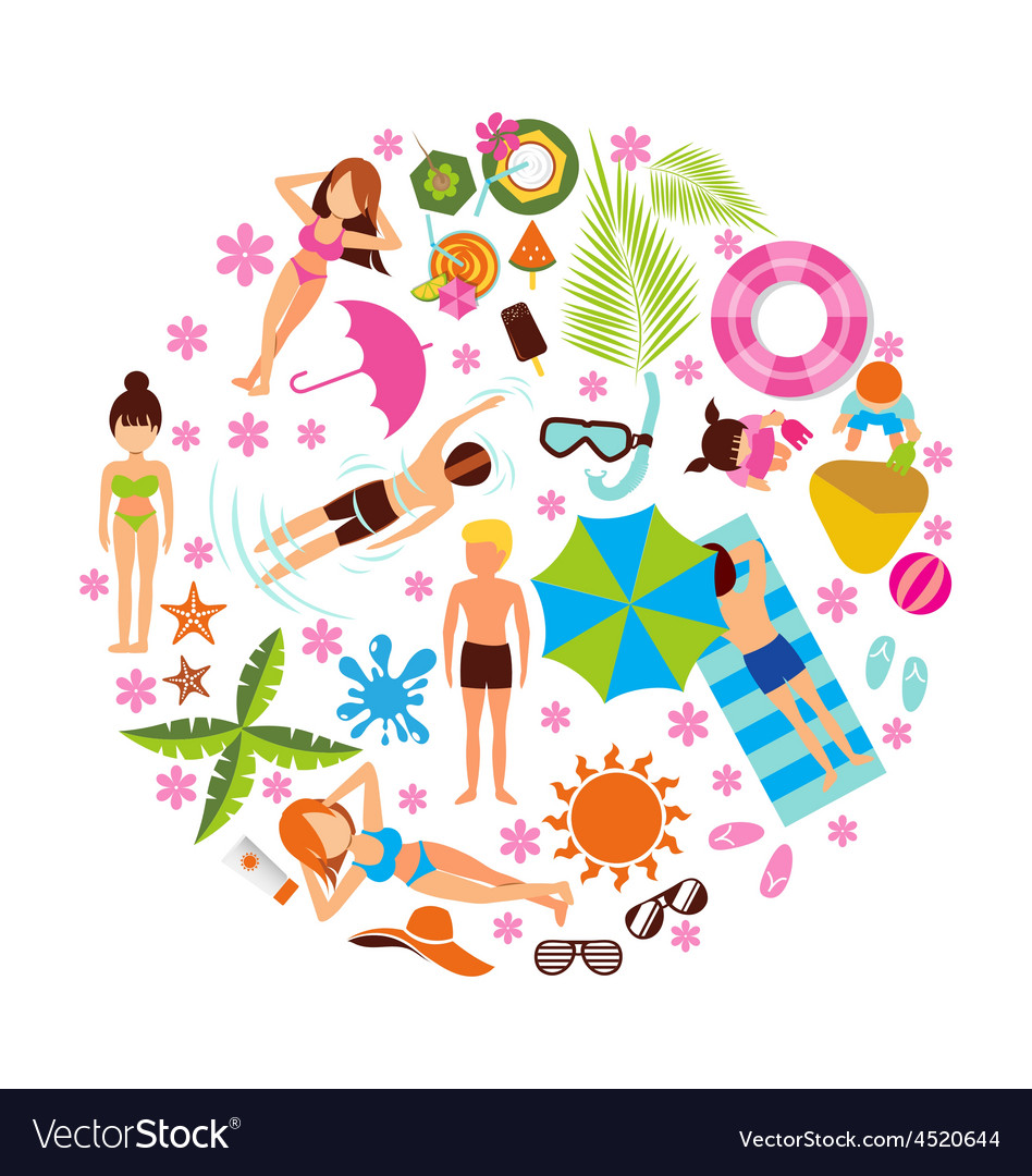 Summer holiday design set on white background vector | Price: 1 Credit (USD $1)