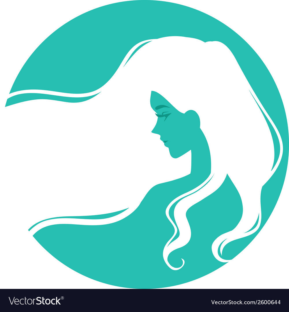 Symbolic logo with woman with long hair vector | Price: 1 Credit (USD $1)
