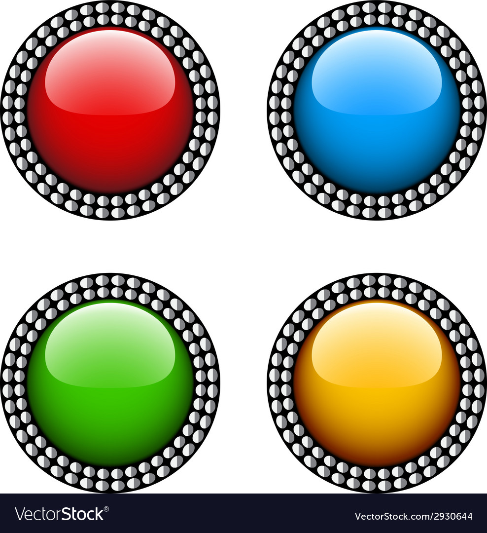 Vintage glossy buttons vector