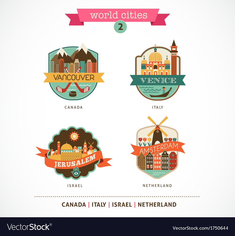 World cities - amsterdam venice jerusalem vector | Price: 1 Credit (USD $1)