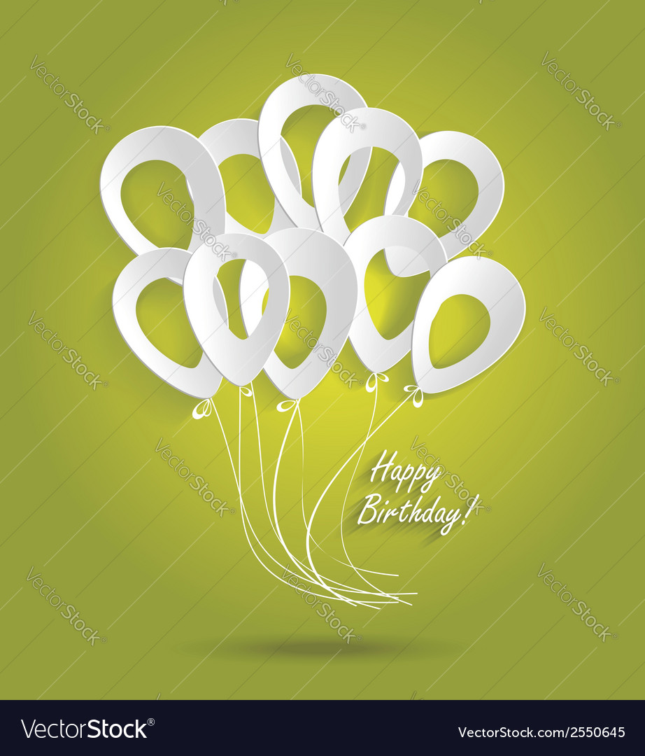 Birthday card with paper ballons vector | Price: 1 Credit (USD $1)