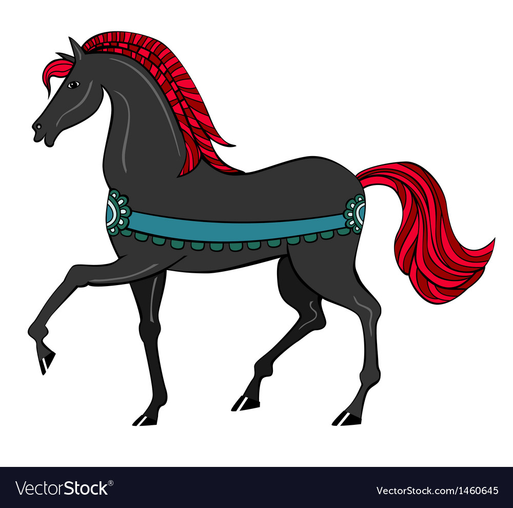 Black horse with red mane vector | Price: 1 Credit (USD $1)