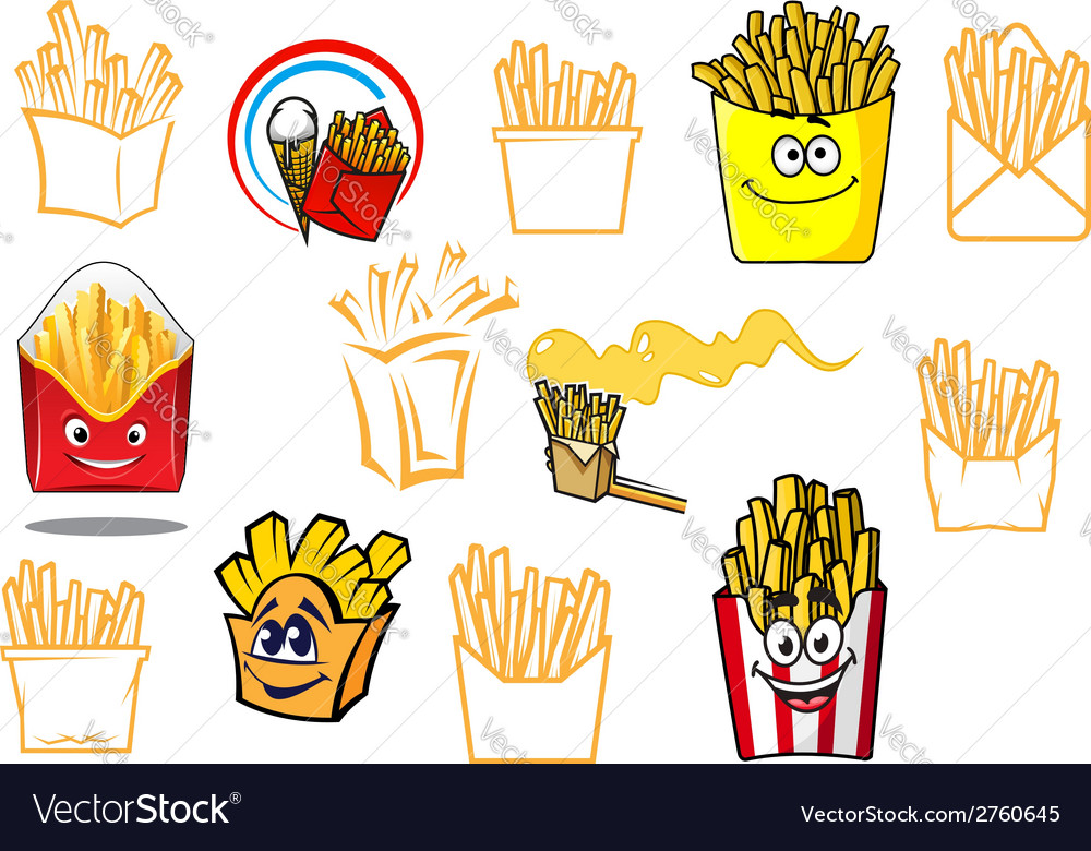Cartoon french fries takeaway food designs vector | Price: 1 Credit (USD $1)