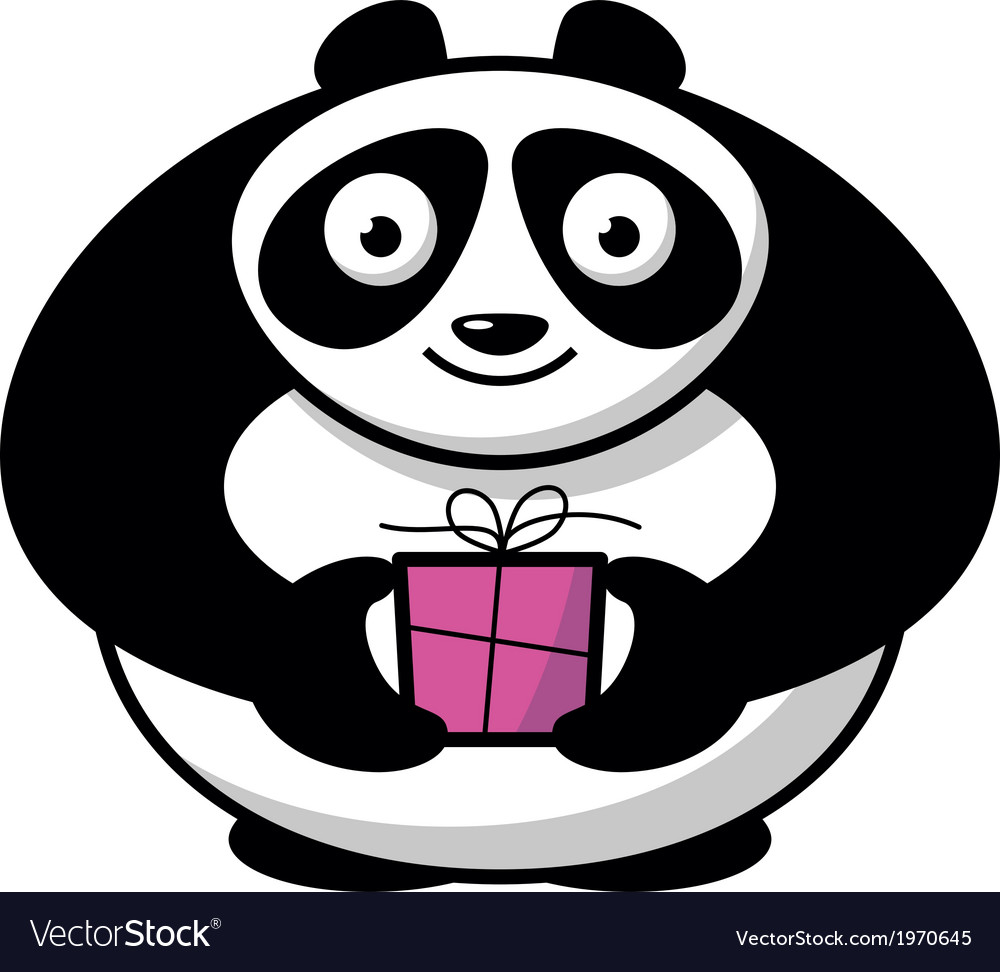Cartoon panda with gift vector | Price: 1 Credit (USD $1)