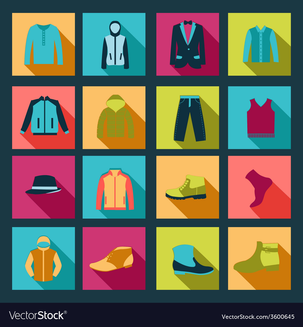 Icons set of fashion elements man clothing vector | Price: 1 Credit (USD $1)