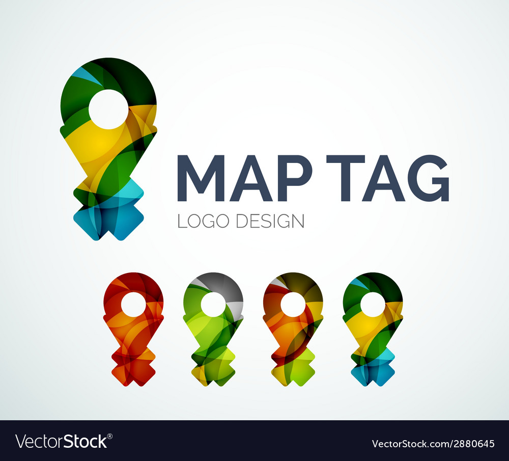Map tag logo design made of color pieces vector   Price: 1 Credit (USD $1)