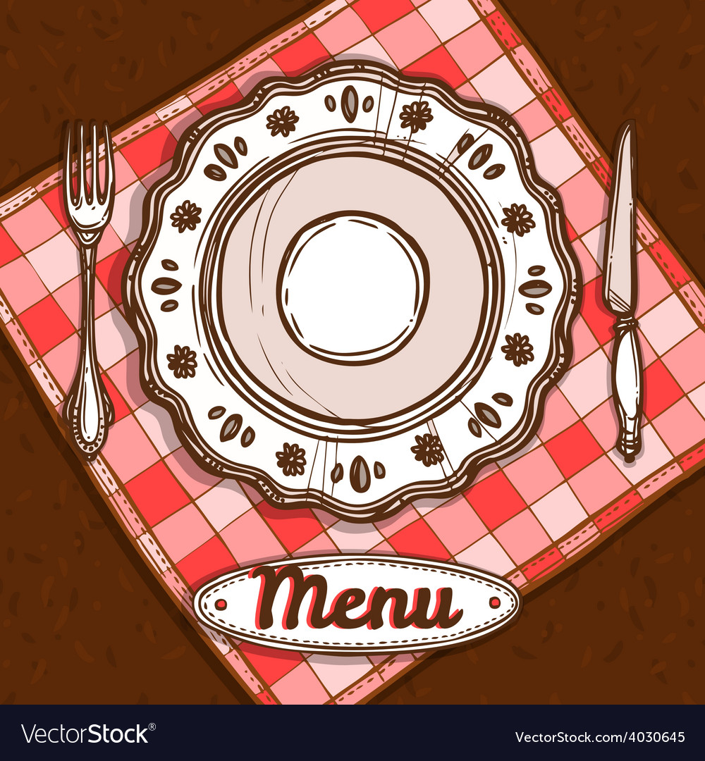Menu with porcelain plate vector | Price: 1 Credit (USD $1)