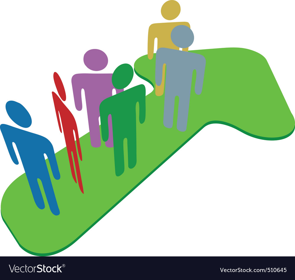 People team on symbol arrow to progress success vector | Price: 1 Credit (USD $1)