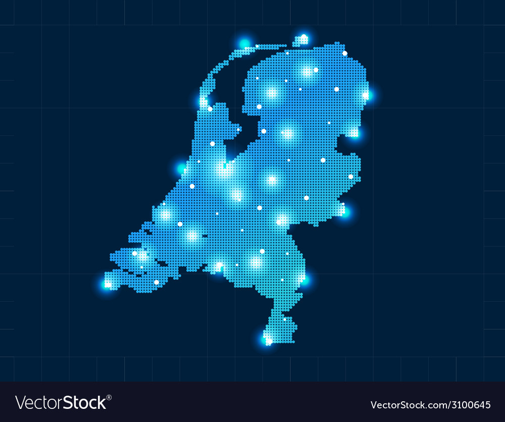 Pixel netherlands map with spot lights vector | Price: 1 Credit (USD $1)