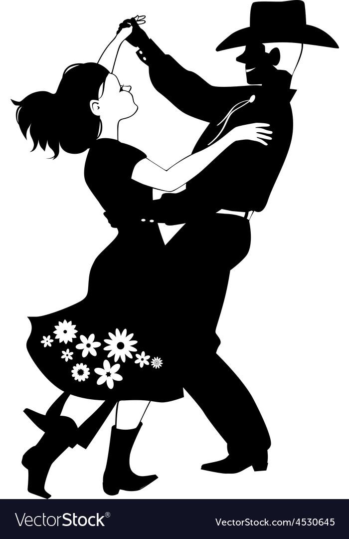 Polka dancers silhouette vector | Price: 1 Credit (USD $1)