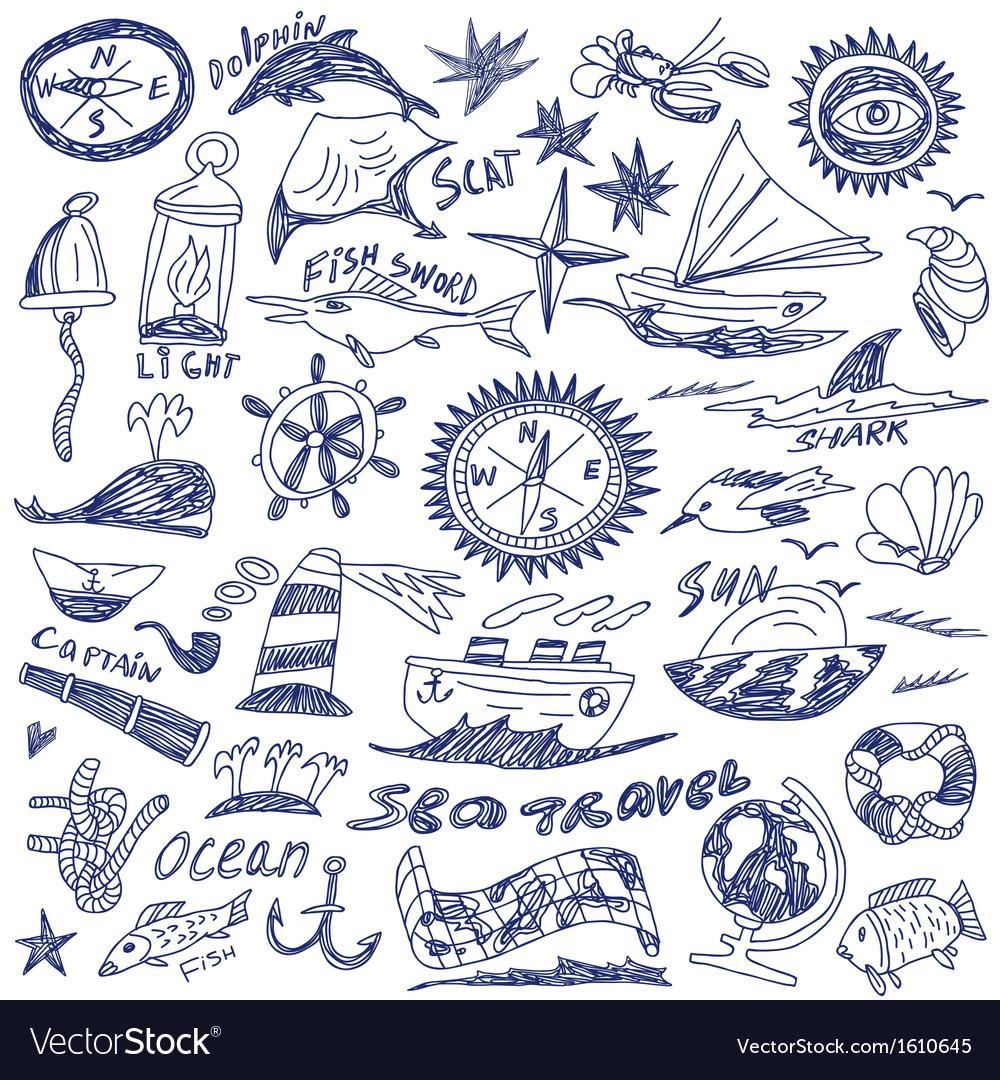 Sea travel - doodles vector | Price: 1 Credit (USD $1)