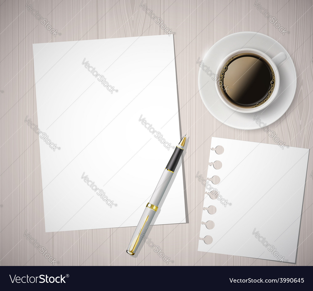 Sheet of paper and a cup of coffee on a wooden vector   Price: 1 Credit (USD $1)