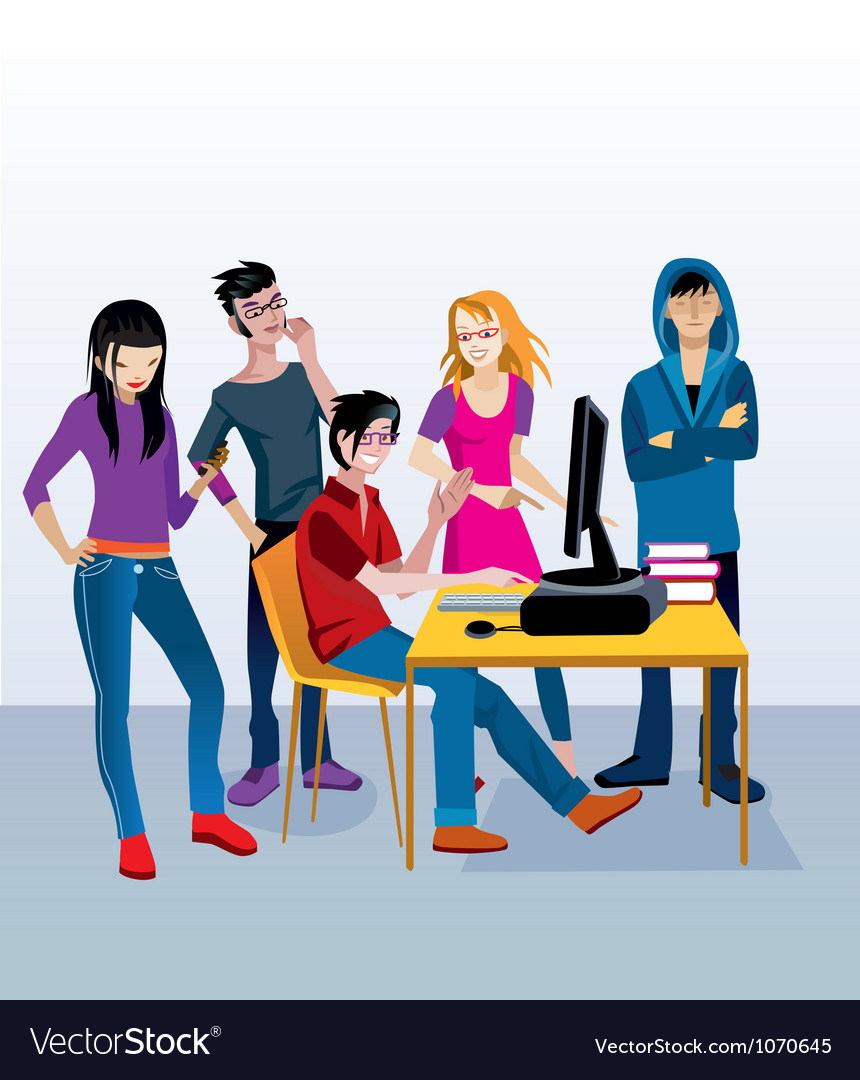 Students with computer vector   Price: 5 Credit (USD $5)