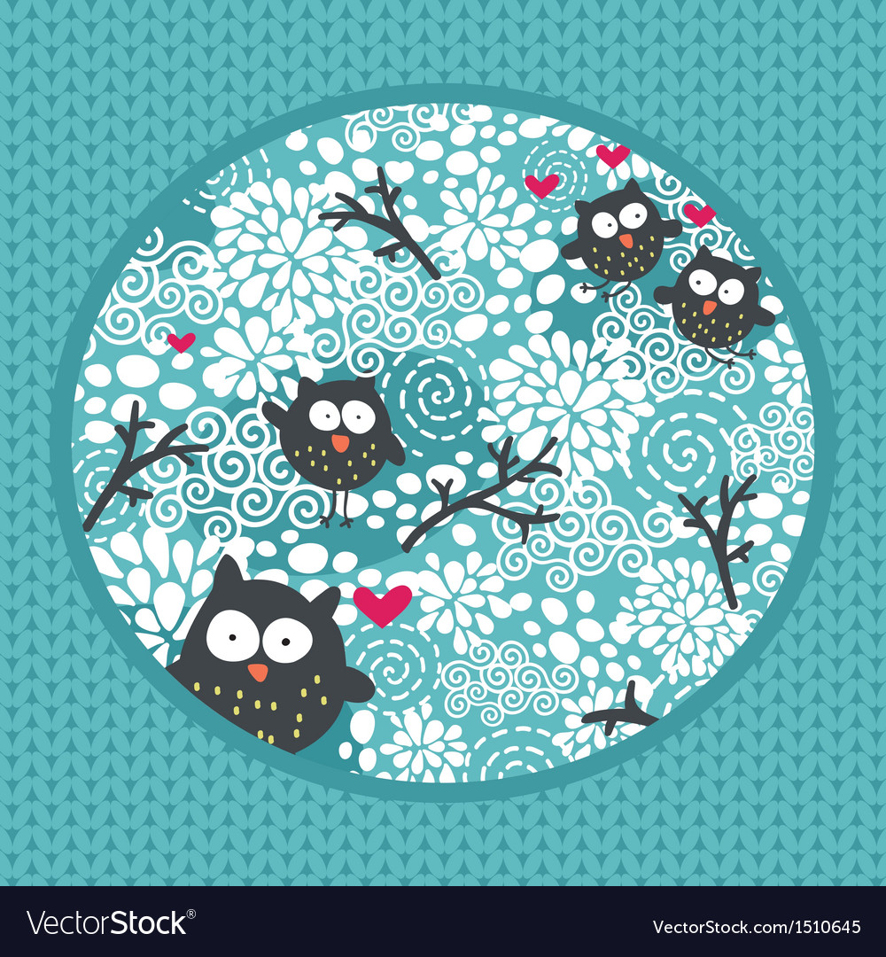 Winter pattern with owls and snow vector | Price: 1 Credit (USD $1)