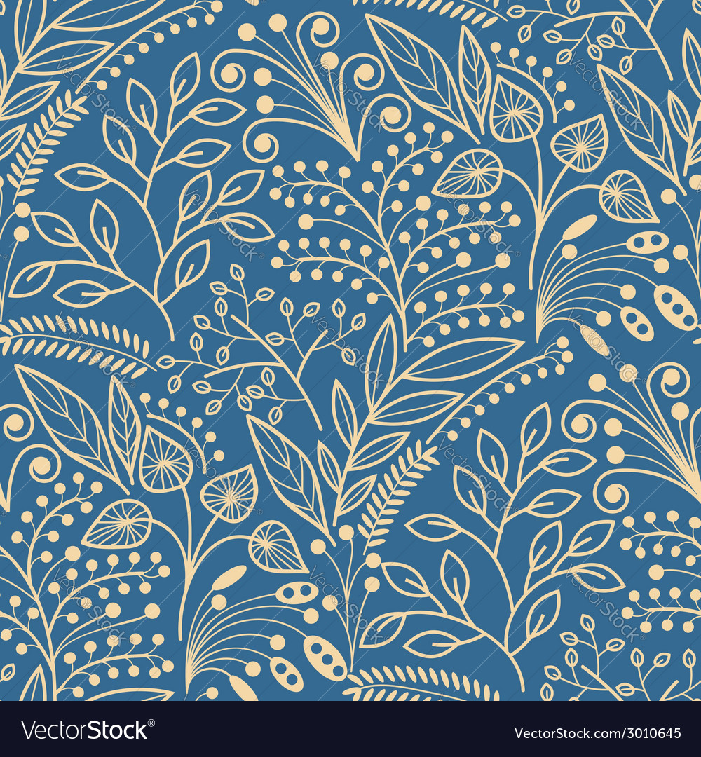 Yellow floral seamless pattern on blue background vector | Price: 1 Credit (USD $1)