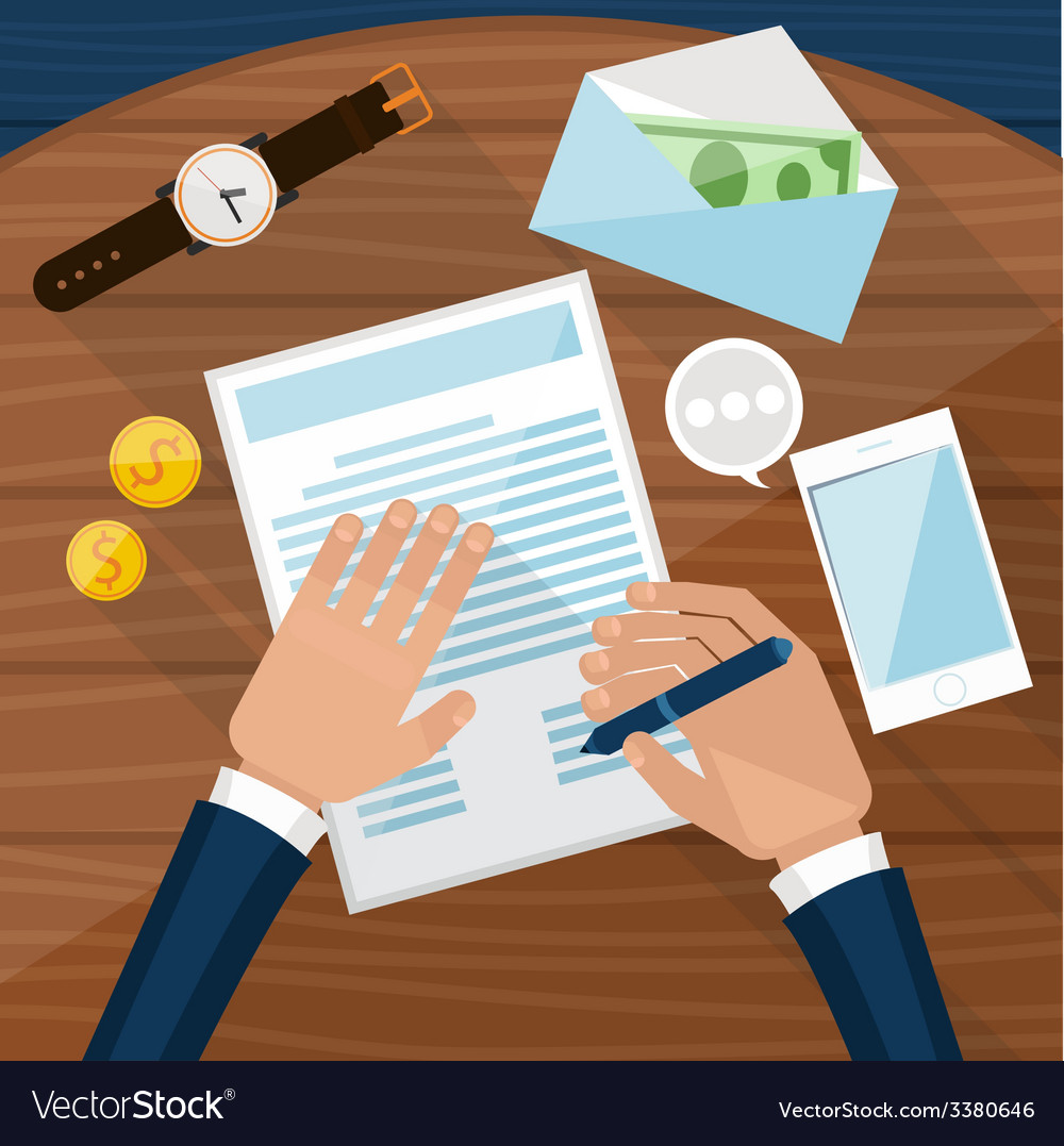 Businessman signs up document vector | Price: 1 Credit (USD $1)