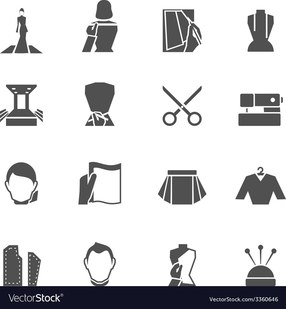 Clothes designer icons black vector | Price: 1 Credit (USD $1)