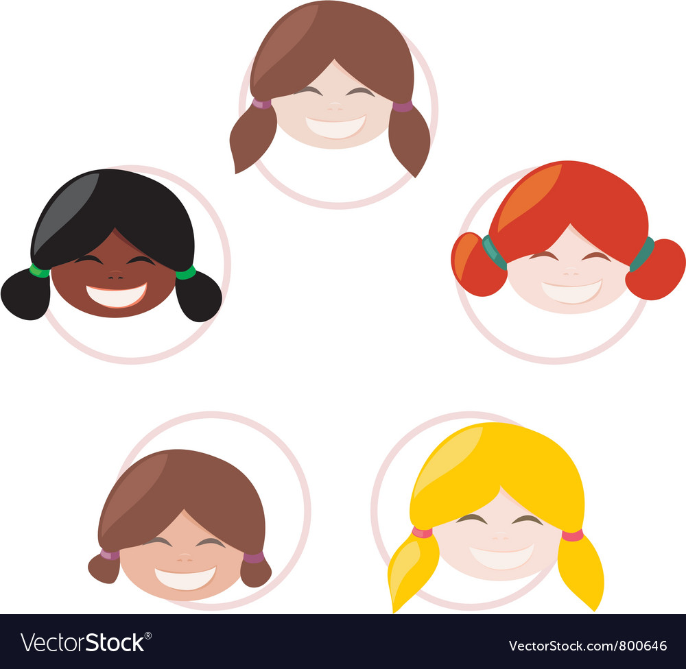 Happy mulicultural girls group vector | Price: 1 Credit (USD $1)