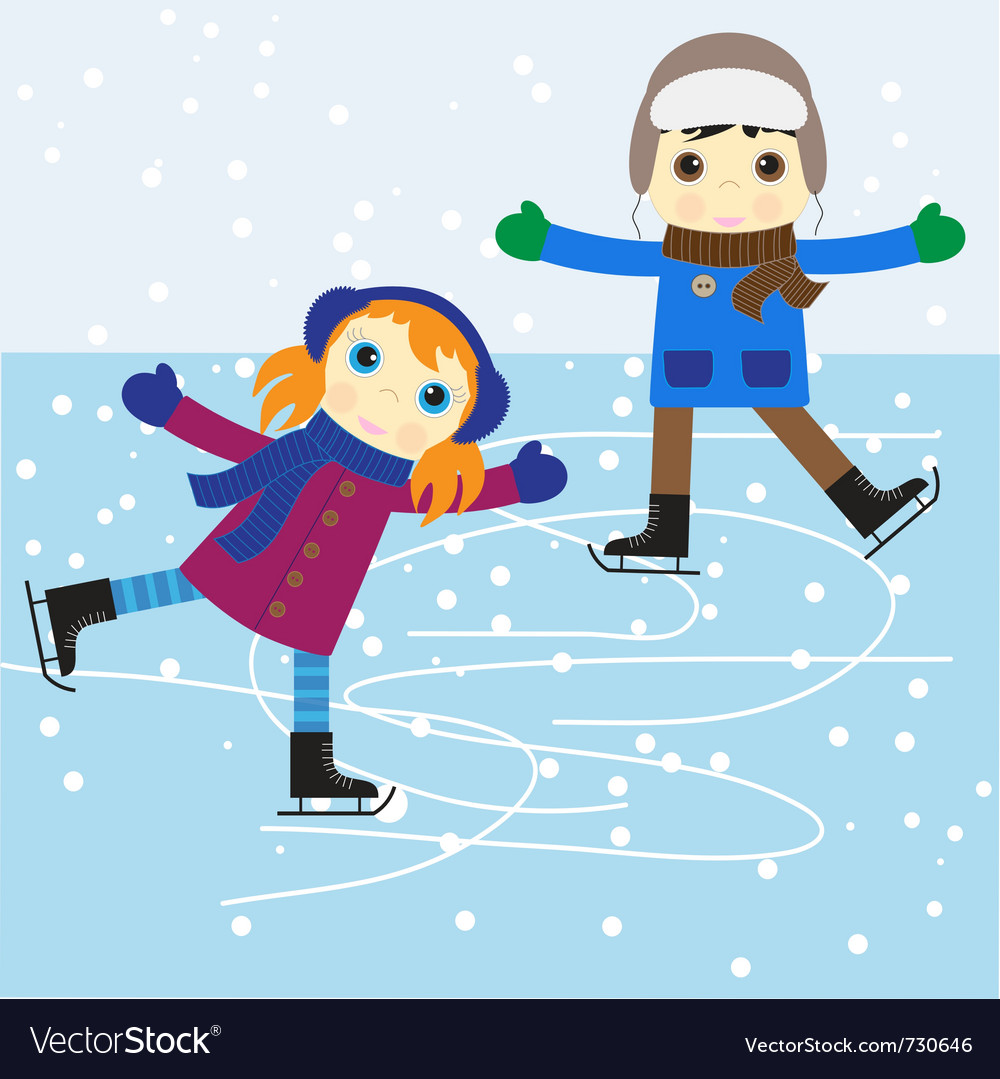 Ice skating boy and girl vector | Price: 1 Credit (USD $1)