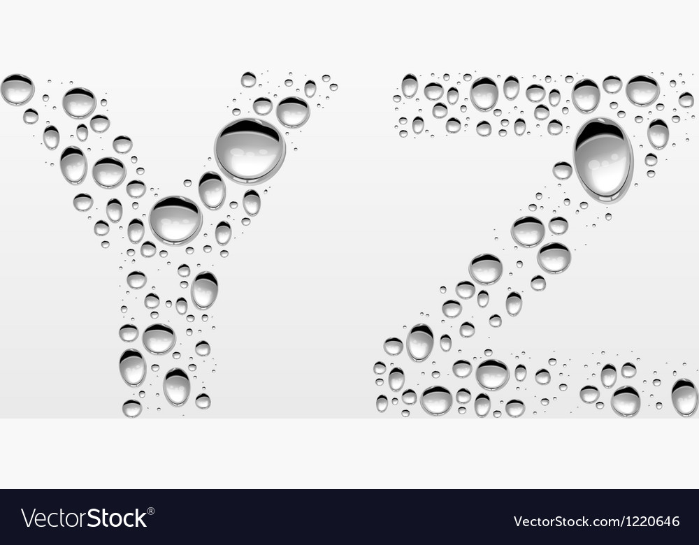 Realistic water drops font from y to z vector | Price: 1 Credit (USD $1)