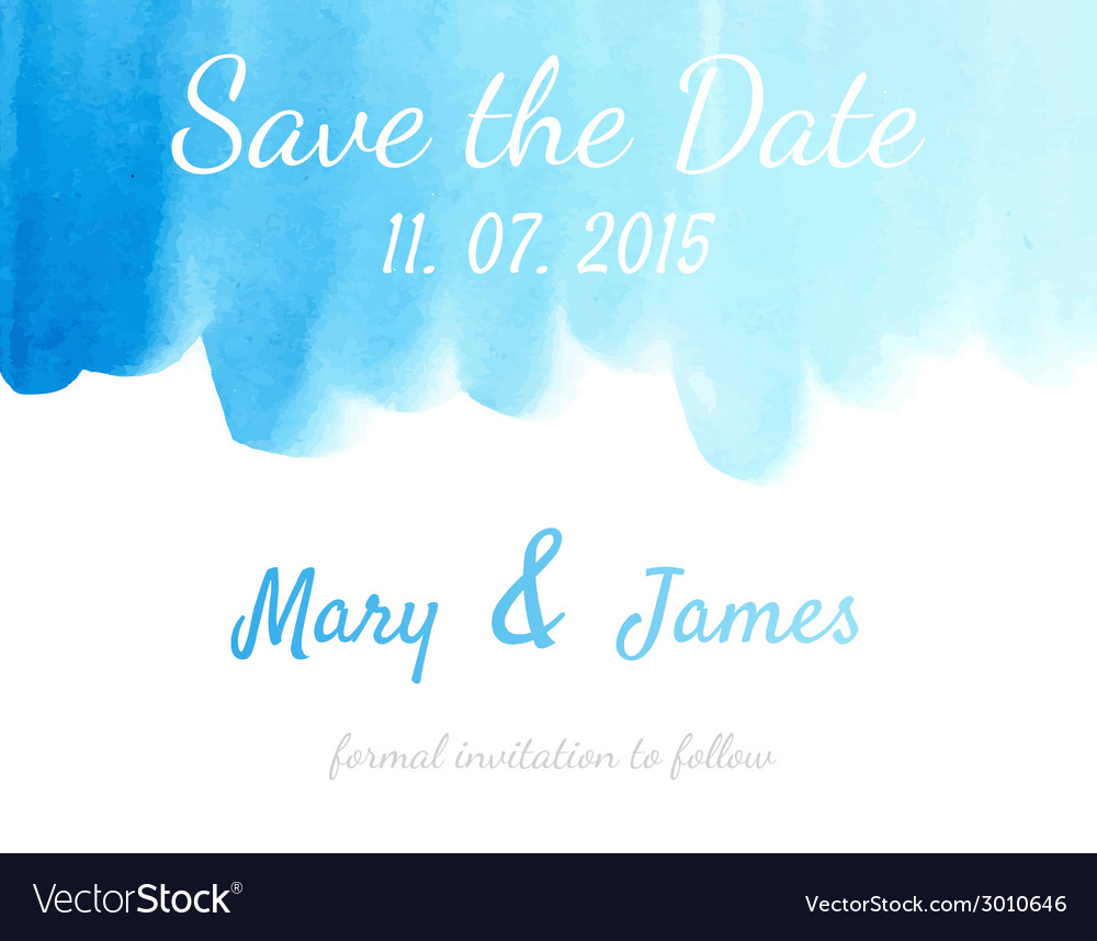Save the date with watercolor background vector | Price: 1 Credit (USD $1)