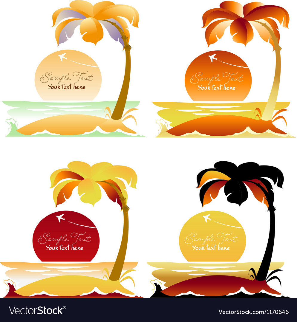 Set of tropical landscapes with palm trees vector | Price: 1 Credit (USD $1)
