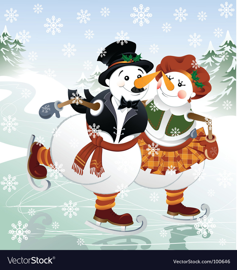 Snowman with his wife vector | Price: 5 Credit (USD $5)