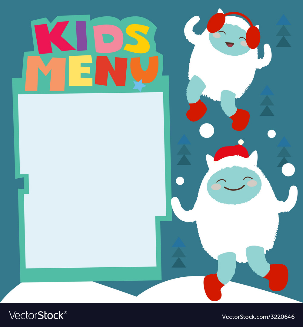 Winter holiday kids menu with cute yeti characters vector | Price: 1 Credit (USD $1)