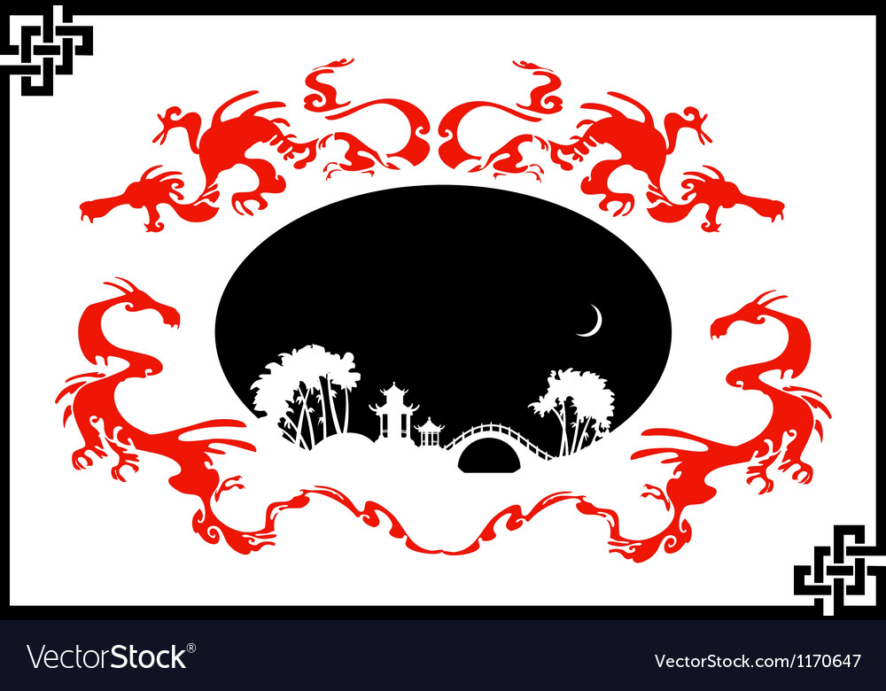 Abstract asian landscape vector | Price: 1 Credit (USD $1)