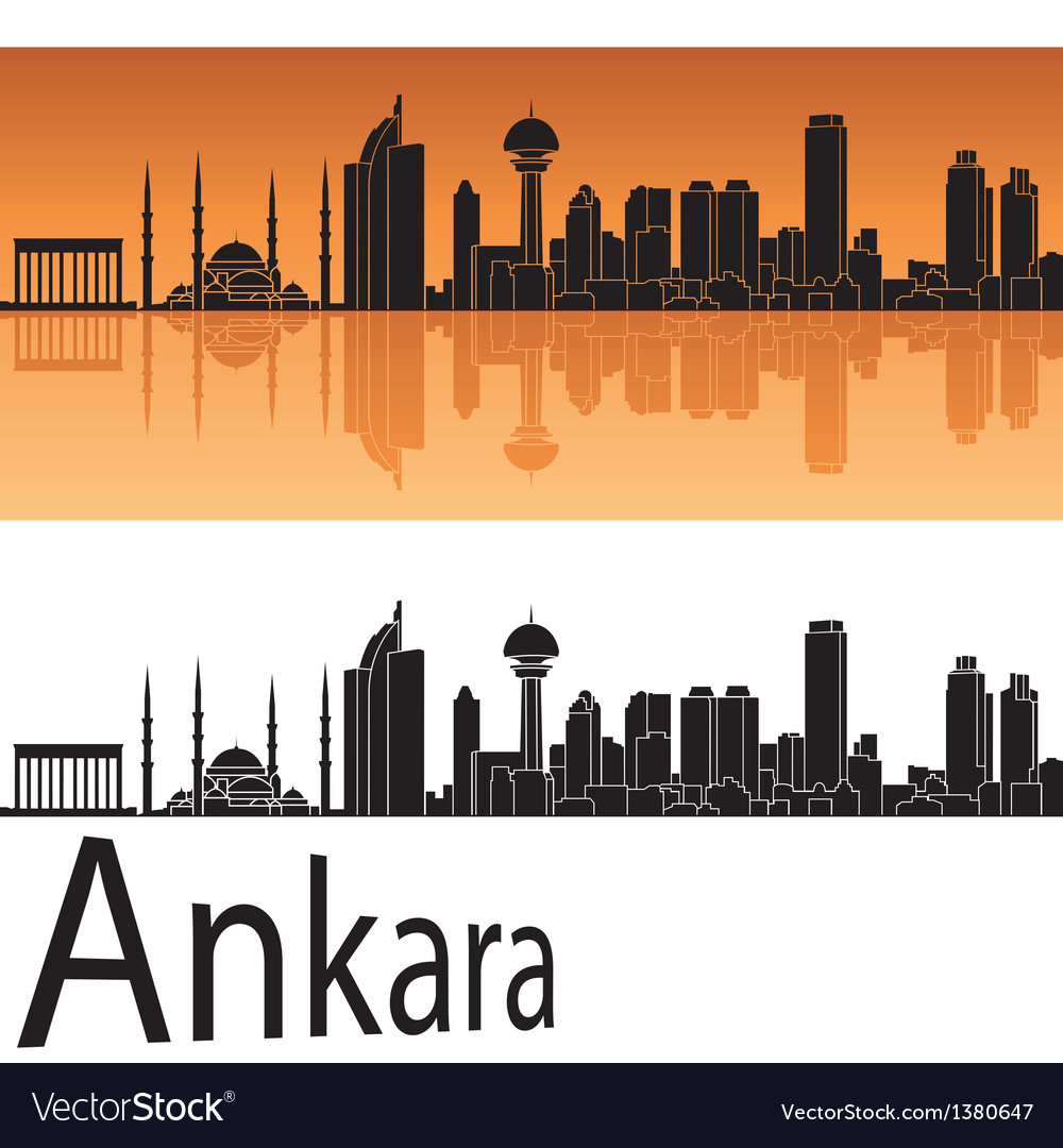 Ankara skyline in orange background vector | Price: 1 Credit (USD $1)